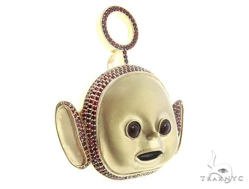 10K Gold Special Custom Teletubby Po Red Ruby Cartoon Character Pendant 65318 Metal