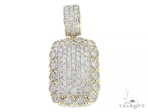 10K Yellow Gold Round Diamond Frame Layered Dog Tag Pendant 65320 Metal
