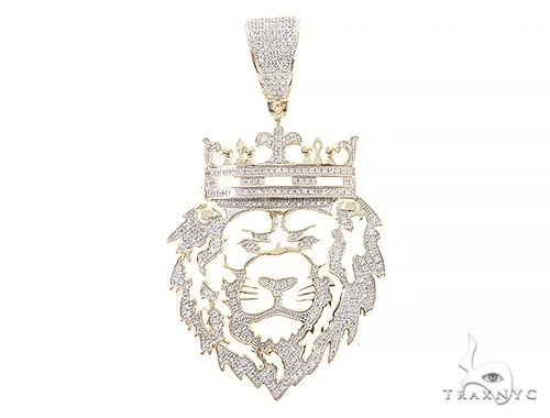 10K Yellow Gold Diamond Royal Lion King Pendant 65321 Metal