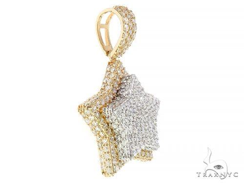 10K White Yellow Gold Prong Diamond Two Layers Star Pendant 65323 Metal