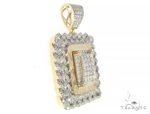 10K Yellow Gold  Cuban Link Iced Out Frame Diamond Dog Tag Pendant 65324 Metal