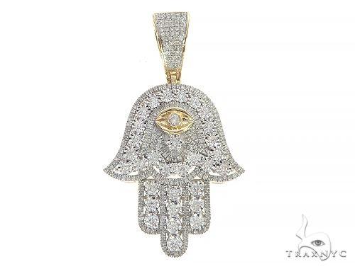 10K Yellow Gold Prong Diamond Eye of Providence Pendant 65325 Metal
