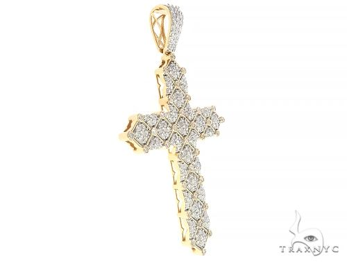 10K Yellow Gold Large Rhombic Pattern Diamond Cross 65328 Metal