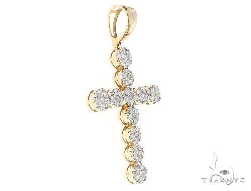 10K Yellow Prong Diamond Round Link Cross 65330 Diamond
