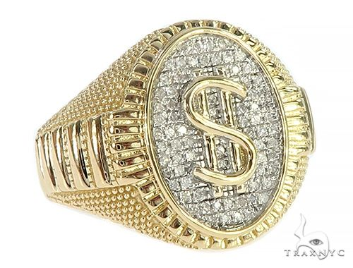 10K Yellow Gold Micro Pave Diamond Signet Dollar Ring 65335 Stone