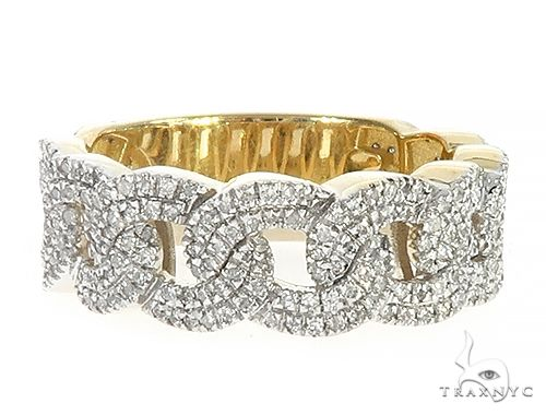 10K Yellow Gold Cuban Link Band Ring 65338 Stone