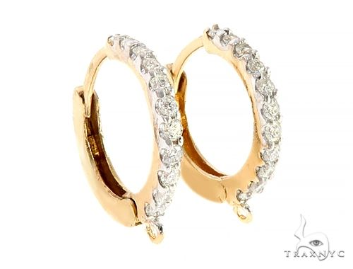 14K Yellow Gold Diamond Hoop Earrings 65339 10k, 14k, 18k Gold Earrings