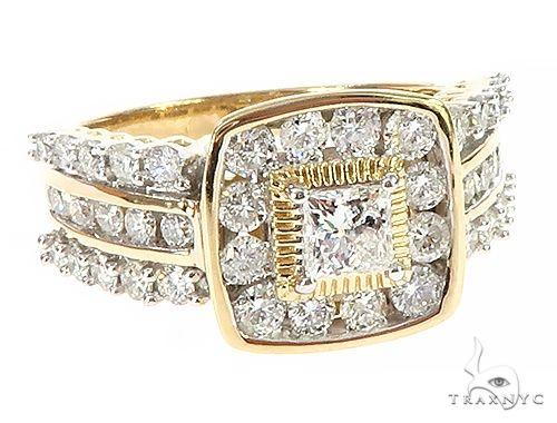 10K Yellow Gold Three Row Channel Diamond Prong Anniversary Wedding Ring 65341 Anniversary/Fashion
