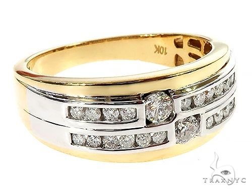 10K Two Tone Gold Two Row Channel Diamond Band Ring 65342 Stone