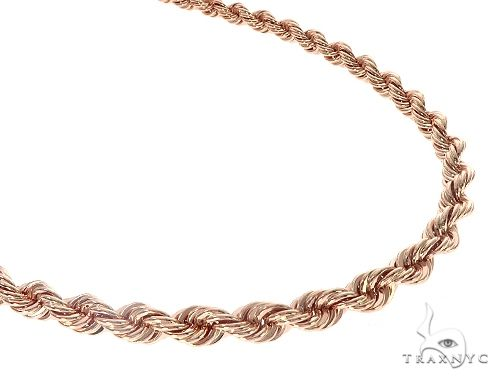 14K Rose Gold Solid Rope Link Chain 24 Inches 8mm 65346 Gold