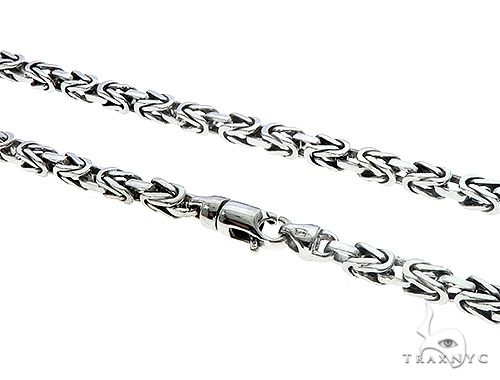 14k White Gold Byzantine Link Chain 24 Inches 4mm 65350 Gold