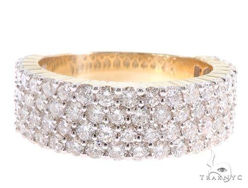 10K Yellow Gold Four Row Diamond Ring 65352 Stone
