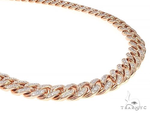 Special Custom Heavy Solid Rose Gold Miami Cuban Link Chain 28 Inches 12mm 65358 Diamond
