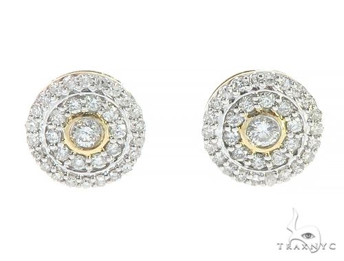 10K Yellow Gold Cluster Diamond Stud Earrings Stone