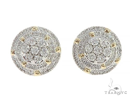 10K Yellow Gold Cluster Diamond Stud Earrings 65361 Stone