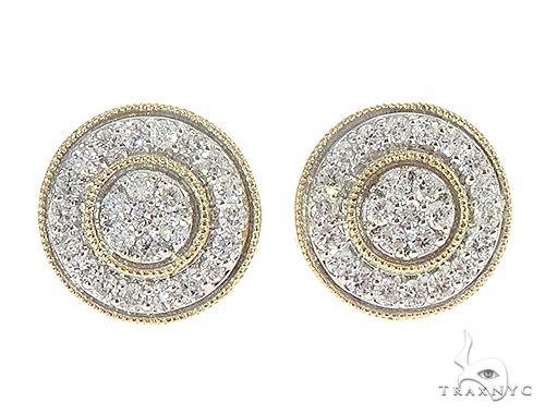 10K Yellow Gold Cluster Diamond Stud Earrings Stone