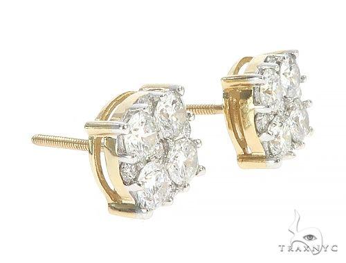 10K Yellow Gold Cluster Diamond Stud Earrings 65364 Stone