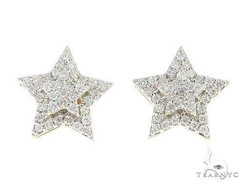 10K Yellow Gold Star Diamond Earrings 65367 Stone