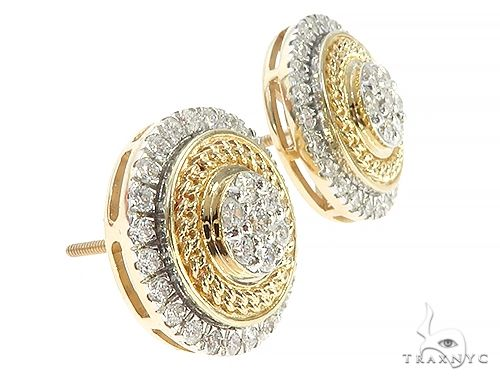 Round Cluster Stud Diamond Earrings 65368 Stone