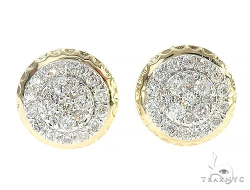 10K Yellow Gold Cluster Diamond Stud Earrings 65370 Stone