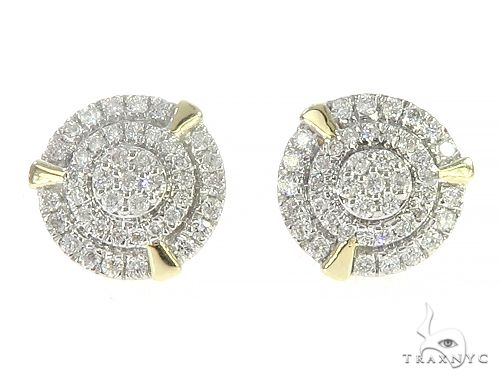 10K Yellow Gold Cluster Diamond Stud Earrings 65371 Stone