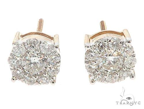 10K Yellow Gold Flower Diamond Stud Earrings 65372 Stone