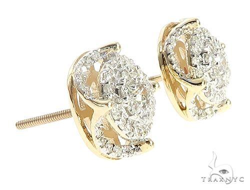 10K Yellow Gold Cluster Stud Diamond Earrings 65373 Stone