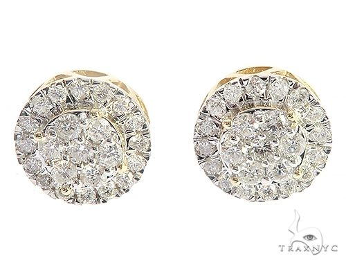 10K Yellow Gold Round Cluster Diamond Stud Earrings 65374 Stone
