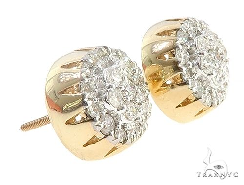 10K Yellow Gold Round Cluster Diamond Stud Earrings 65375 Stone