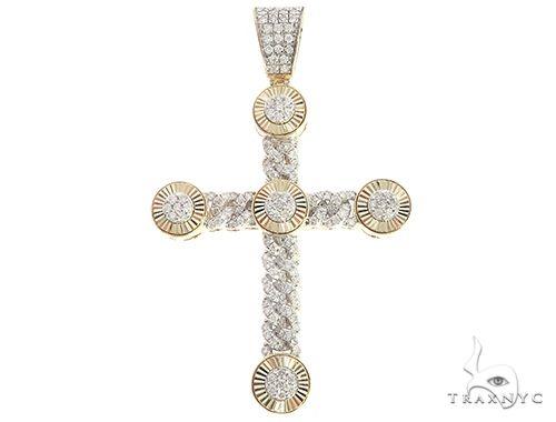 10K Yellow Gold Diaond Cuban Cross 65384 Diamond