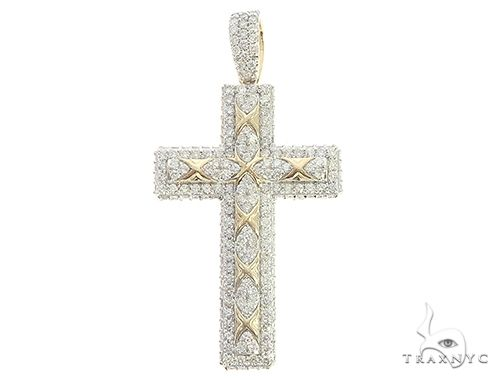 10K Yellow Gold Prong Diamond Cross 65387 Diamond
