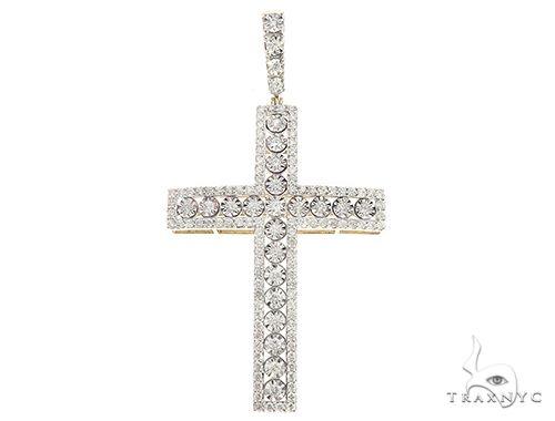 10K Yellow Gold Prong Diamond Cross 65390 Diamond