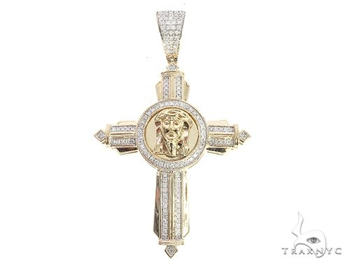 10K Yellow Gold Diamond Jesus Cross Pendant 65393 Diamond