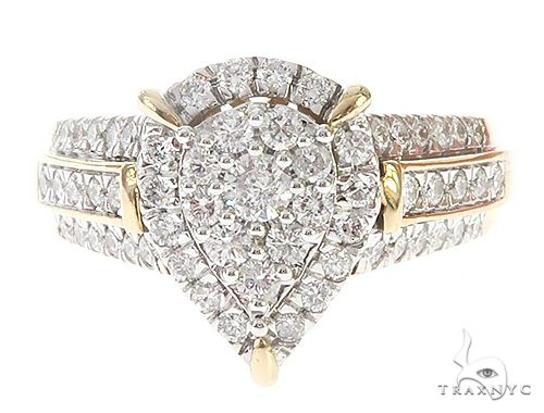 Yellow Gold Three Row Prong Diamond Pear Drop Ring 65395 Anniversary/Fashion