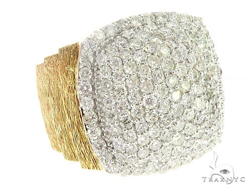 Yellow Gold Large Cushion Dome Prong Diamond Ring 65396 Stone