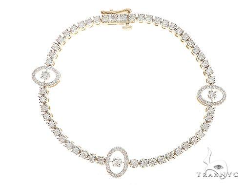 Yellow Gold Oval Link Prong Diamond Tennis Bracelet 65400 Tennis