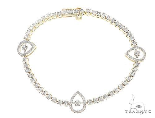 Yellow Gold Drop Pear Link Prong Diamond Tennis Bracelet 65401 Diamond