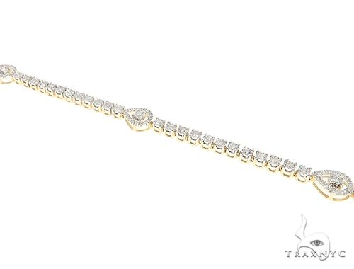 Yellow Gold Teardrop Link Prong Diamond Tennis Bracelet 65402 Tennis