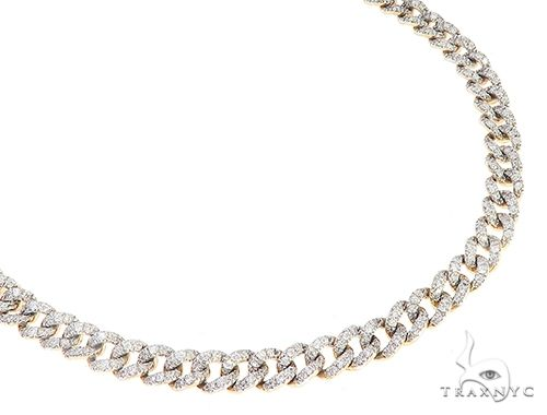 Yellow Gold Cuban Curb Link Prong Diamond Choker Necklace 65403 Diamond