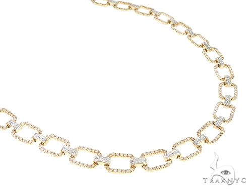 Yellow Gold Square Open Link Prong Diamond Choker Necklace 65404 Diamond