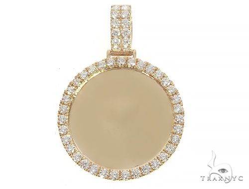 14K Yellow Gold Diamond Frame Custom Photo Pendant 1.25 inches 65408 Style