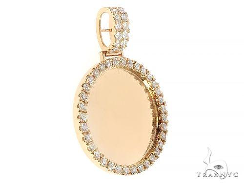14K Yellow Gold Diamond Frame Custom Photo Pendant 1.25 inches 65408 Style