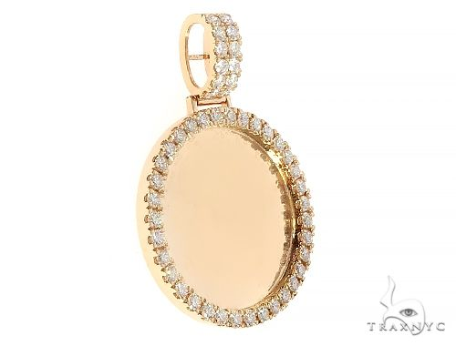 14K Yellow Gold Diamond Frame Custom Photo Pendant 1.25 inch Plus 65409 Style