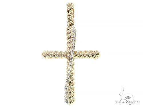 14K Yellow Gold Twisted  Diamond Rope Cross Pndant 65446 Diamond