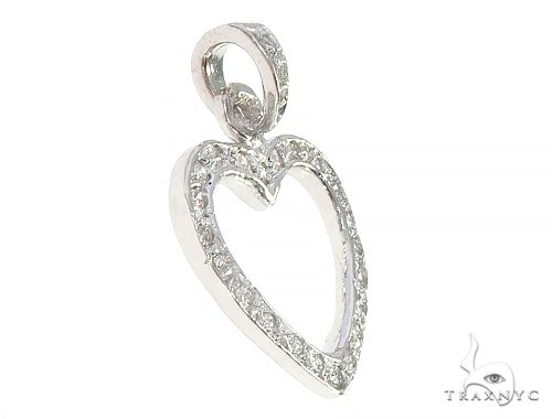 14K White Gold Heart Pendant 65449 Stone