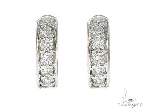 14K White Gold Prong Diamond Small Hoops Earring 65453 Stone