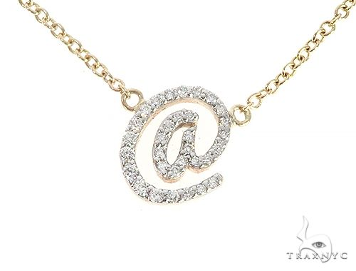 14K Yellow Gold At Sign Diamond Necklaces 65478 Diamond