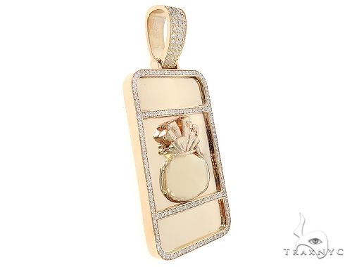 Custom Made Diamond Money Bag Pendant 65480 Metal