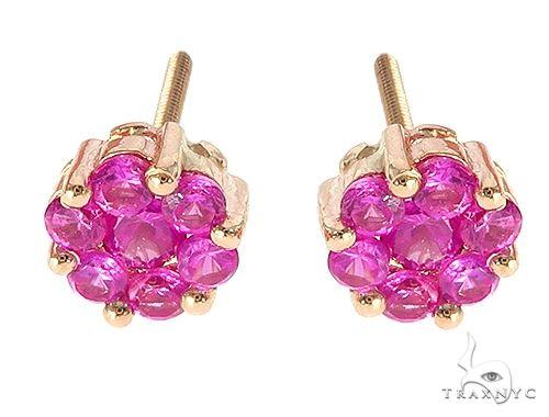 14K Yellow Gold Pink Corundum Flower Stud Earrings 65485 Style