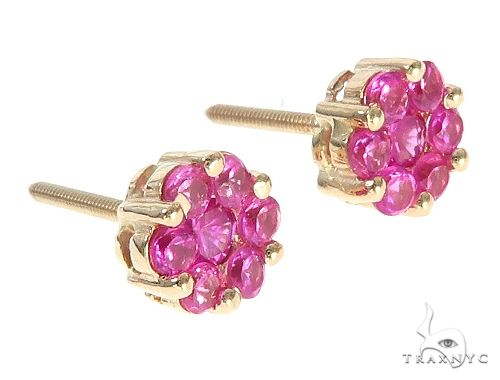14K Yellow Gold Pink Corundum Flower Stud Earrings 65485 Style